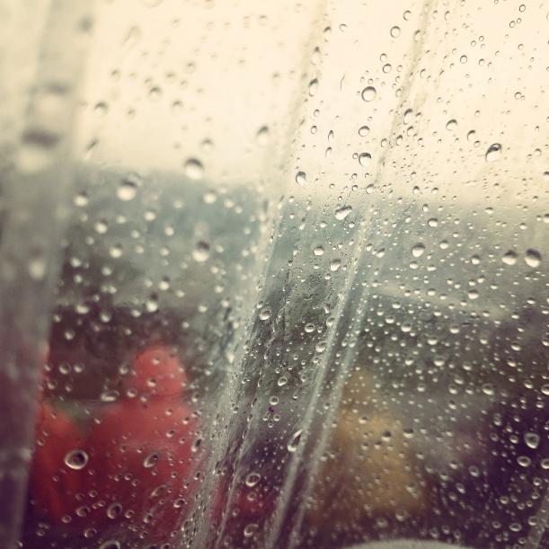 Aber wir hatten ja einen Regenschutz mit. Zumindest teilweise trocken kamen wir dann auch weg. Lustig war's trotzdem :)