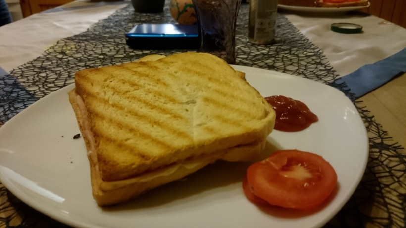 Stefan hat für uns Toast gemacht, Mama dagegen futterte die Spaghetti, da sie mittags schon arbeiten war.